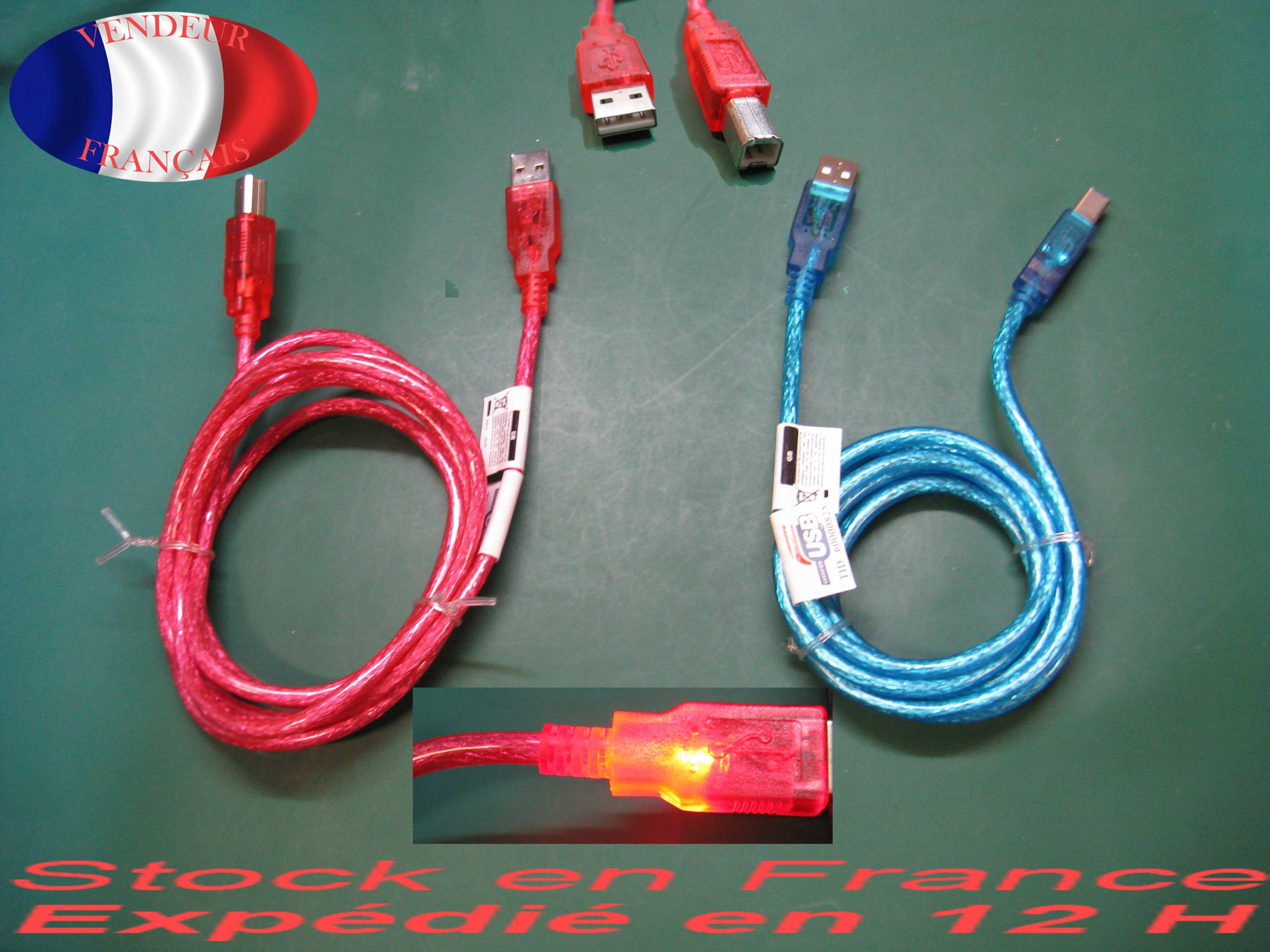 Cable lumineux usb 2.0 Pour imprimante et disque dur externe